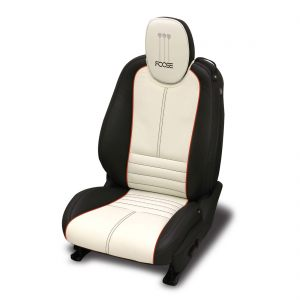 Dark-Graphite-wrap-Alabaster-center-Tangerine-wings-piping-Black-all-stitch.-Foose-logo-included-on-headrest.-COLORS-OR-LOGO-MAY-NOT-BE-ALTERED